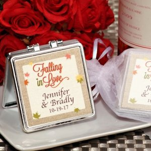 Falling In Love Personalized Silver Compact Mirror Favors image
