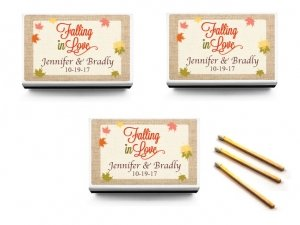 Falling In Love Personalized White Matchbox Favors (Set of 5 image
