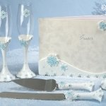 Blue Snowflake Wedding Accessories Set