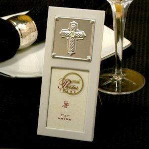 Pearlized Silver Metal Photo Frame (Embossed Cross Design) image