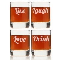Live- Laugh- Love- Drink Shot Glass (Set of 4)