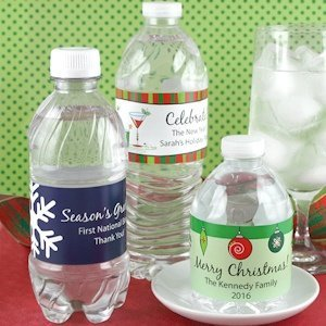 Personalized Holiday Water Bottle Labels (Set of 5) image