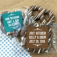 Rustic Design Personalized Chocolate Pretzel Favors