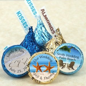 Personalized Hershey's Kiss Beach Themed Wedding Favors image