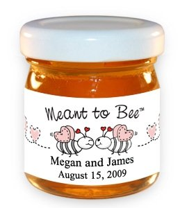 Meant to Bee-Bees with Pink Hearts Honey Jar image