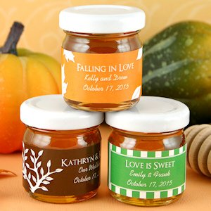 Falling in Love Personalized Autumn Honey Jar Favors image