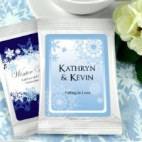 Winter Wedding Personalized Coffee Favors - White