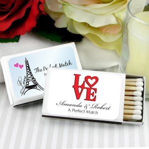 French Themed Personalized Wedding Favor Matches (Set of 50) image