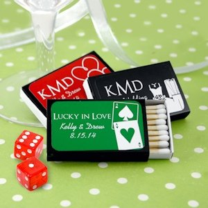 Vegas Personalized Wedding Black Matchboxes (Set of 50) image