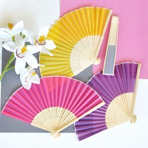 Hand Held Folding Silk Fan Favors (12 Colors) image