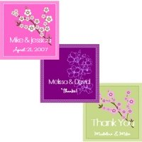 Square Cherry Blossom Bridal Tags and Labels (Sets of 20)