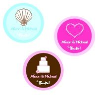 Medium Round Personalized Stickers for Weddings (Set of 35)