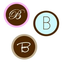 Round Monogram Wedding Stickers for Favors (Set of 35)