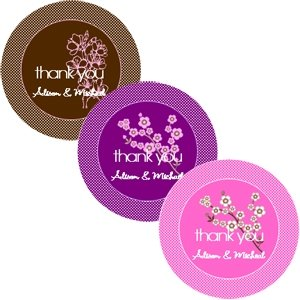 Cherry Blossom Round Labels for Wedding Favors (Set of 12) image