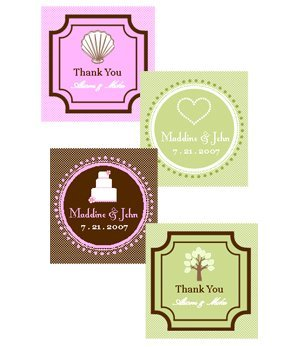 Square Personalized Wedding Favor Tags & Labels (Set of 20) image