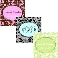 Square Damask Personalized Labels & Tags (Set of 20)