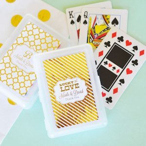 Personalized Metallic Foil Wedding Playing Cards image