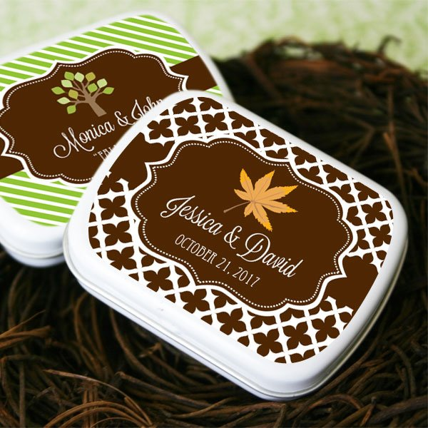 Personalized Candy Tin Autumn Wedding Favors