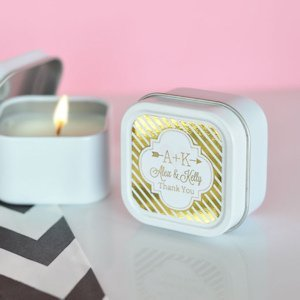 Personalized Metallic Foil Square Candle Tins image