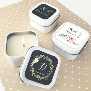 Personalized Floral Garden Square Candle Tins image