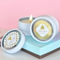 Personalized Metallic Foil Round Wedding Candle Tins