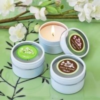 Personalized Round Cherry Blossom Candle Favors