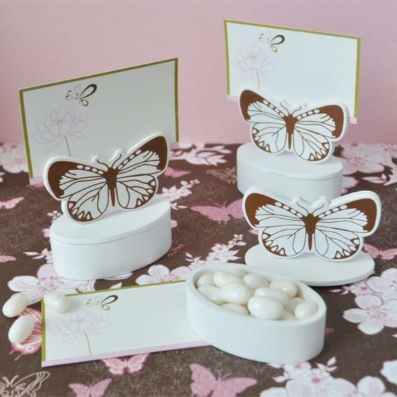 Butterfly Themed Favor Boxes : Butterfly place card holder favor box set of