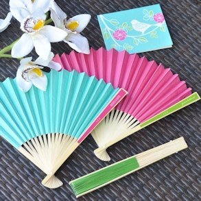 Personalized Paper Fans for Weddings (Many Colors) image