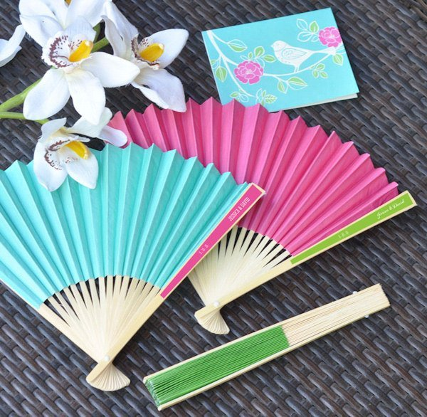 Personalized Paper Fans For Weddings Many Colors