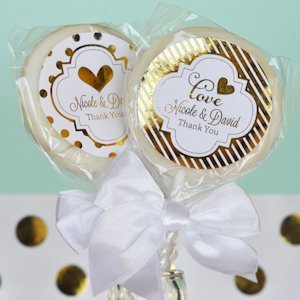 Personalized Metallic Foil Wedding Lollipop Favors image