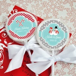 Personalized Lollipop Winter Wedding Favors image