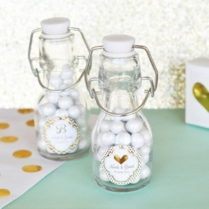 Personalized Metallic Foil Mini Glass Bottles image