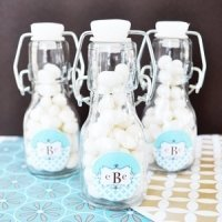 Mod Monogram Mini Glass Bottle Favors