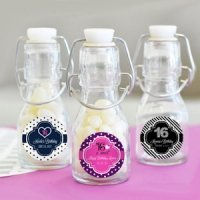 Sweet 16 (or 15) Personalized Mini Glass Bottle Favors