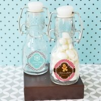 Winter Holiday Personalized Mini Glass Bottle Favors