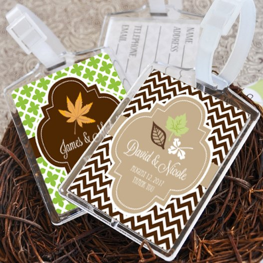 Personalized Luggage Tags Wedding Gift: Fall For Love Personalized Luggage Tag Favors