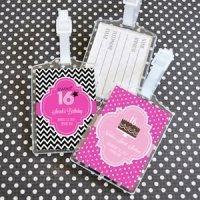 Sweet Sixteen (or 15) Personalized Luggage Tag Favors