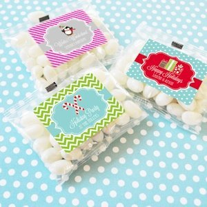 Winter Holiday Personalized Jelly Bean Favor Packs image