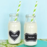 Milk Bottle Wedding Favors with Vinyl Chalkboard Labels