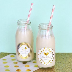 Personalized Metallic Foil Wedding Milk Bottles image