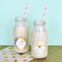 Personalized Metallic Foil Wedding Milk Bottles
