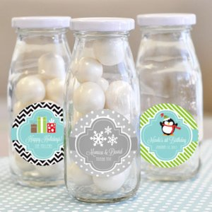 'A Winter Holiday' Personalized Milk Bottles image