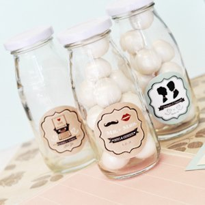 Vintage Wedding Personalized Milk Bottles image