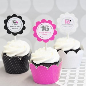 Sweet Sixteen (or 15) Cupcake Wrappers (Set of 24) image
