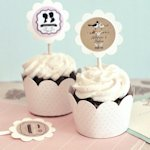 Vintage Wedding Cupcake Wrappers & Toppers (Set of 24)