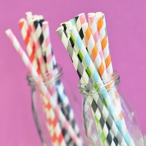 Striped Paper Straws (Set of 25) image