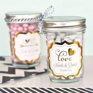 Personalized Metallic Foil Mini Mason Jars image