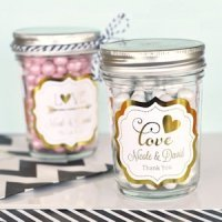 Personalized Metallic Foil Mini Mason Jars
