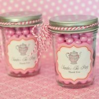Tea Party Personalized Mini Mason Jars