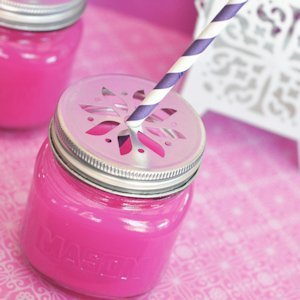 Mason Drinking Jars with Flower Lids image